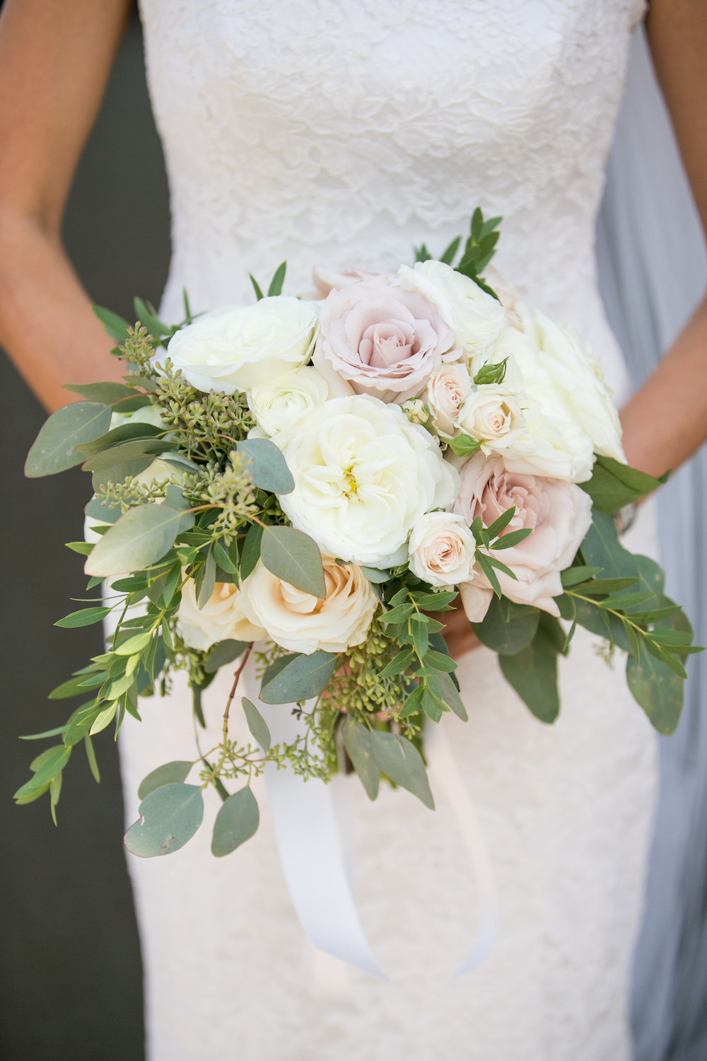 Garden rose and eucalyptus bouquet