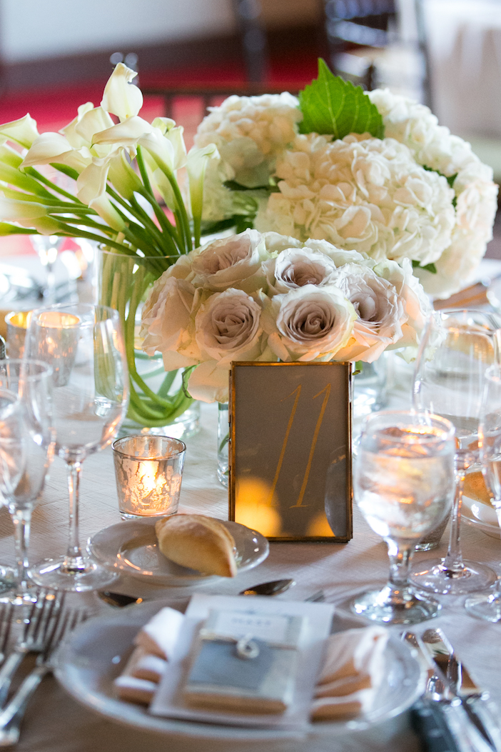Hydrangea, calla and rose centerpiece