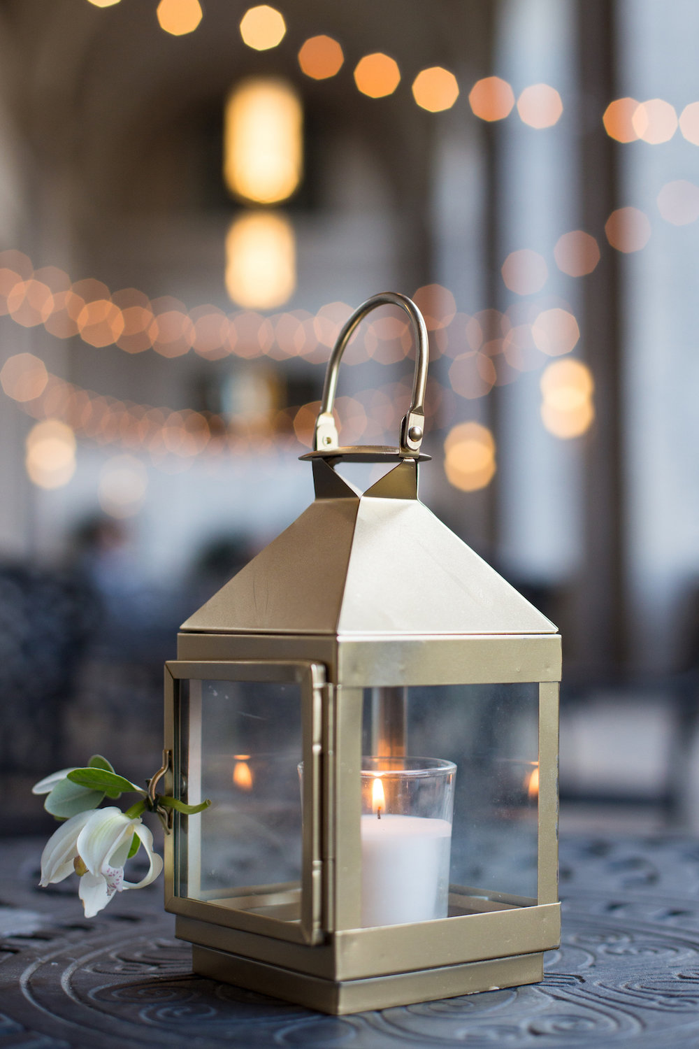 Mini gold lantern for cocktail tables