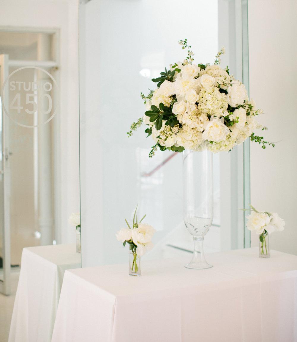 White hydrangea tall centerpiece