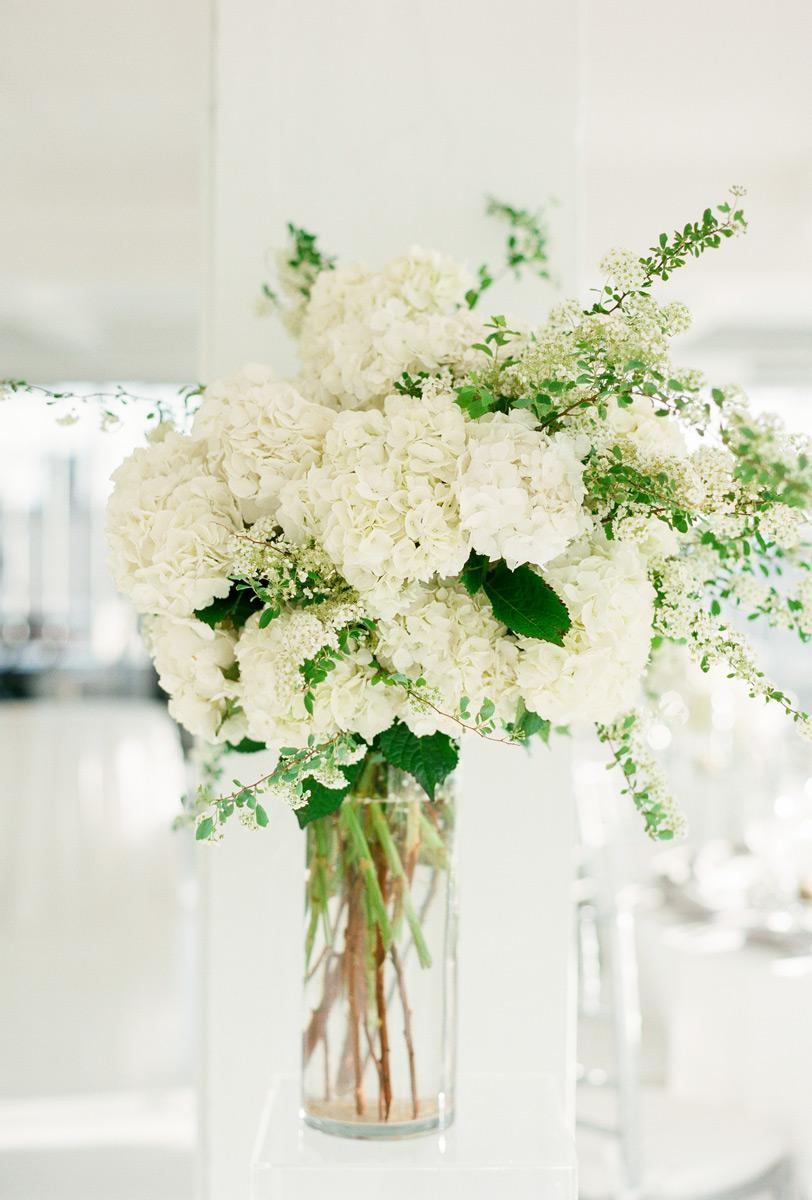 White hydrangea and spirea arrangement