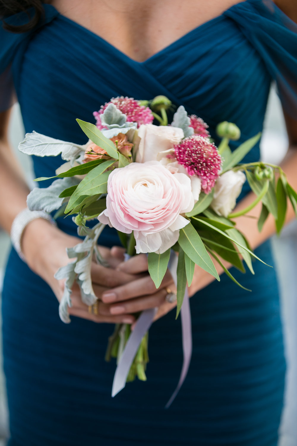 Pink ranunculus bridesmaid bouquet