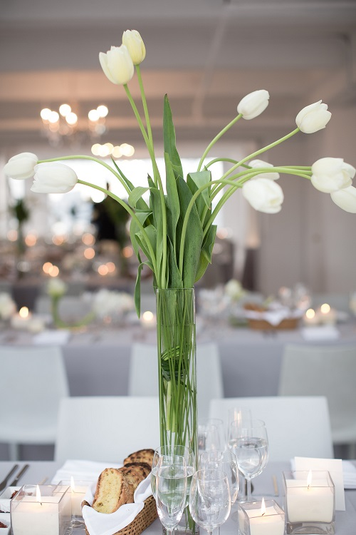 White French tulip centerpiece