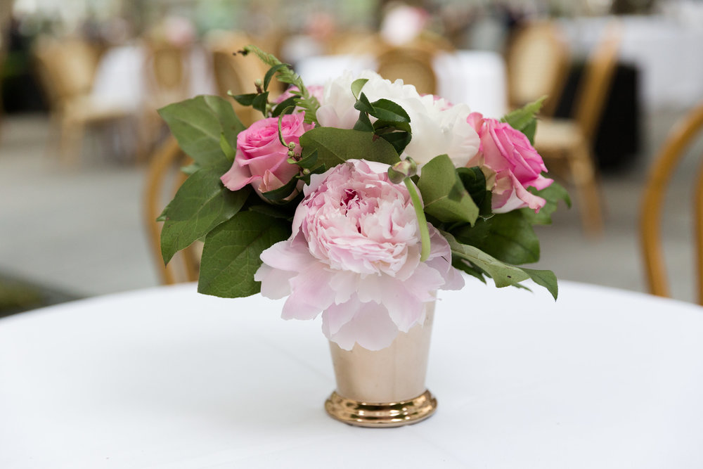Pink peony cocktail arrangement