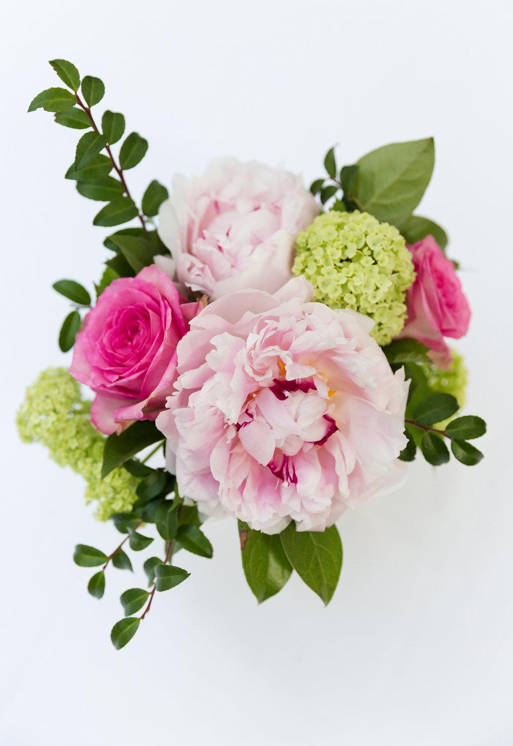 Pink peony cocktail arrangement