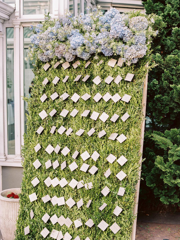 Flower wall escort card display