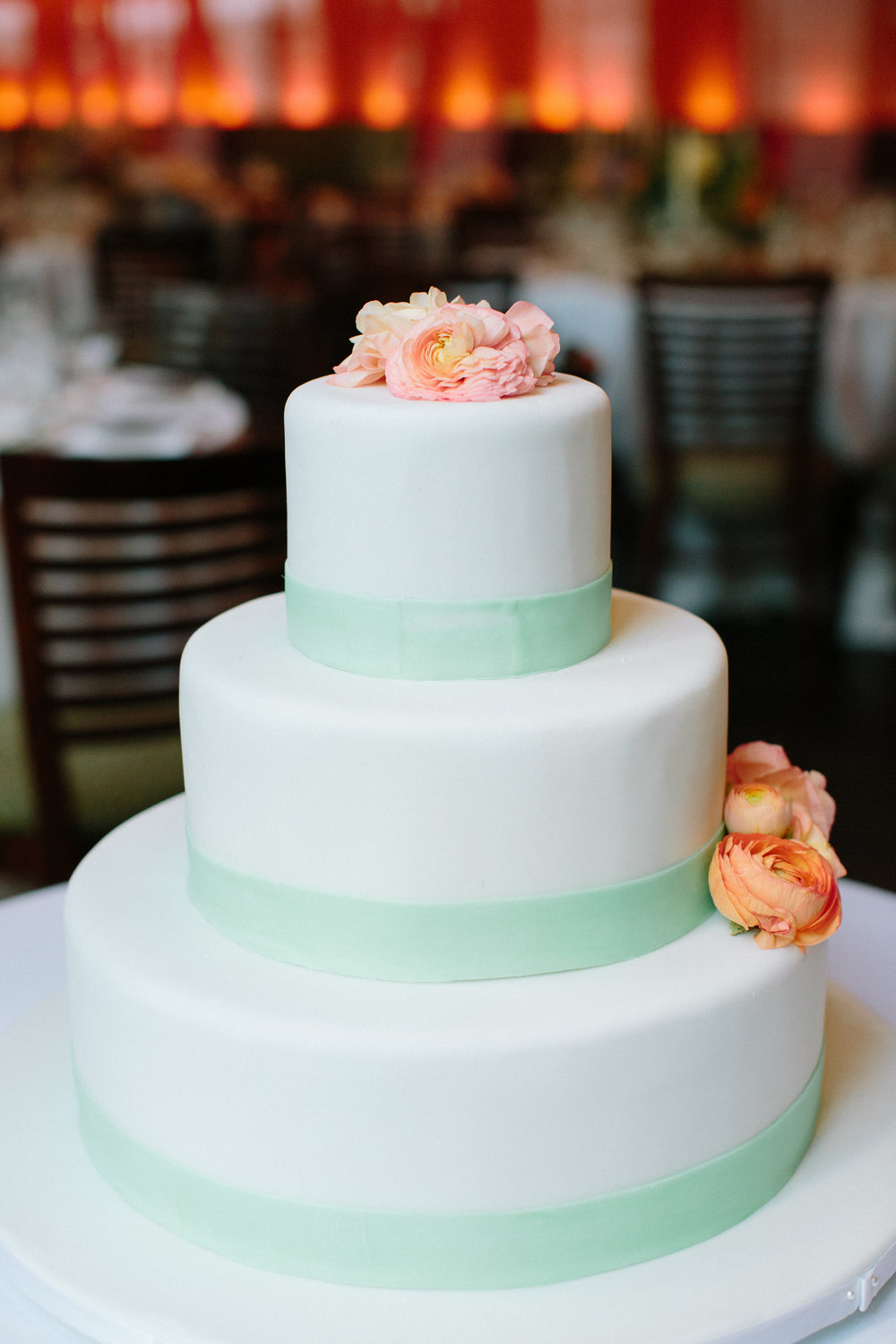 Wedding cake with ranunculus