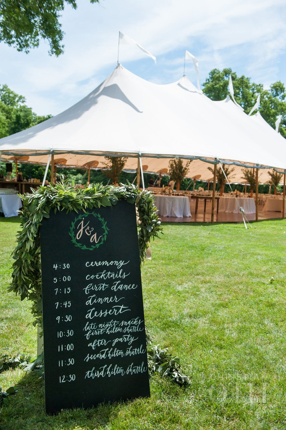Sperry tents green garlands