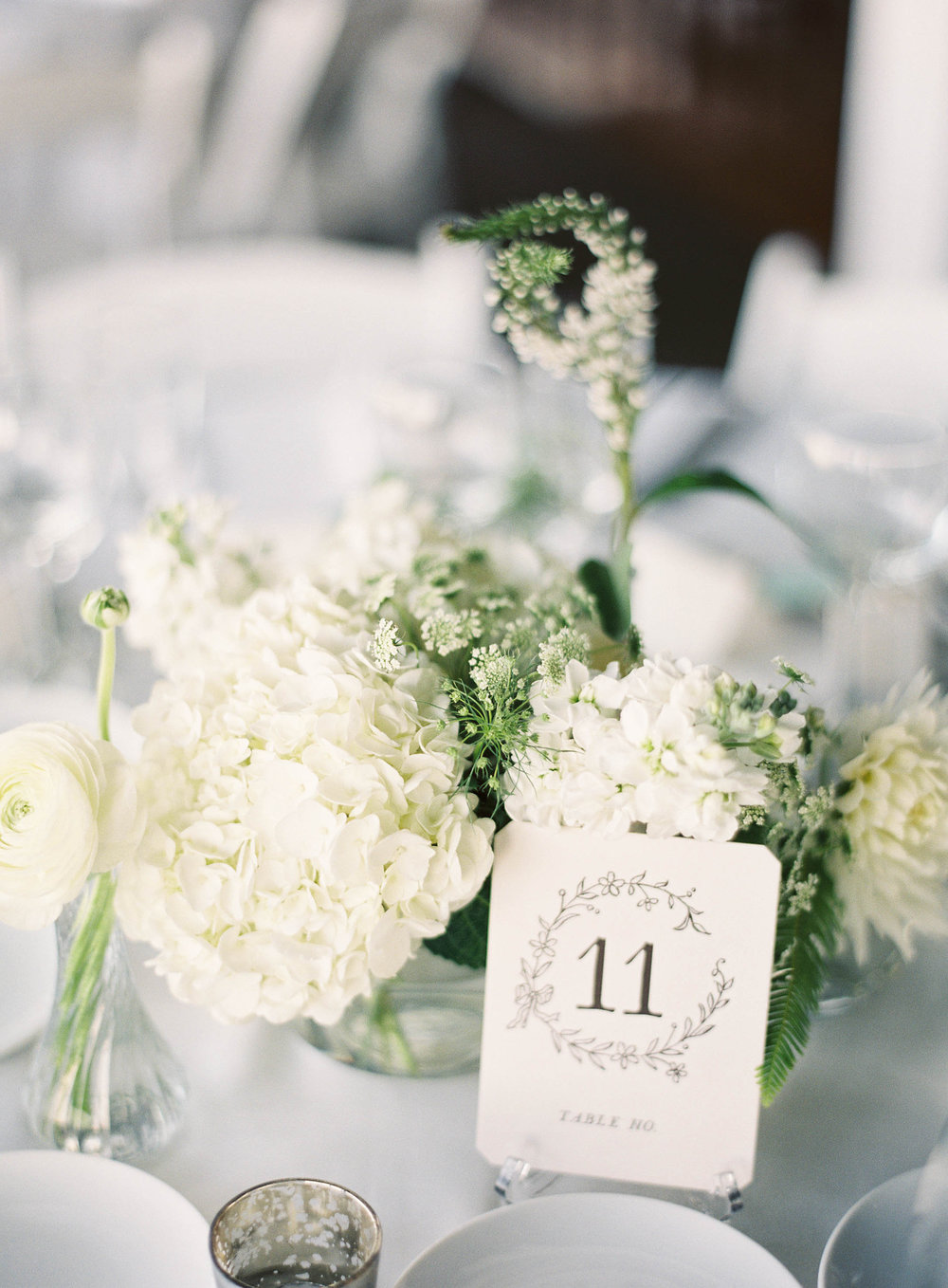 White hydrangea multiple centerpieces