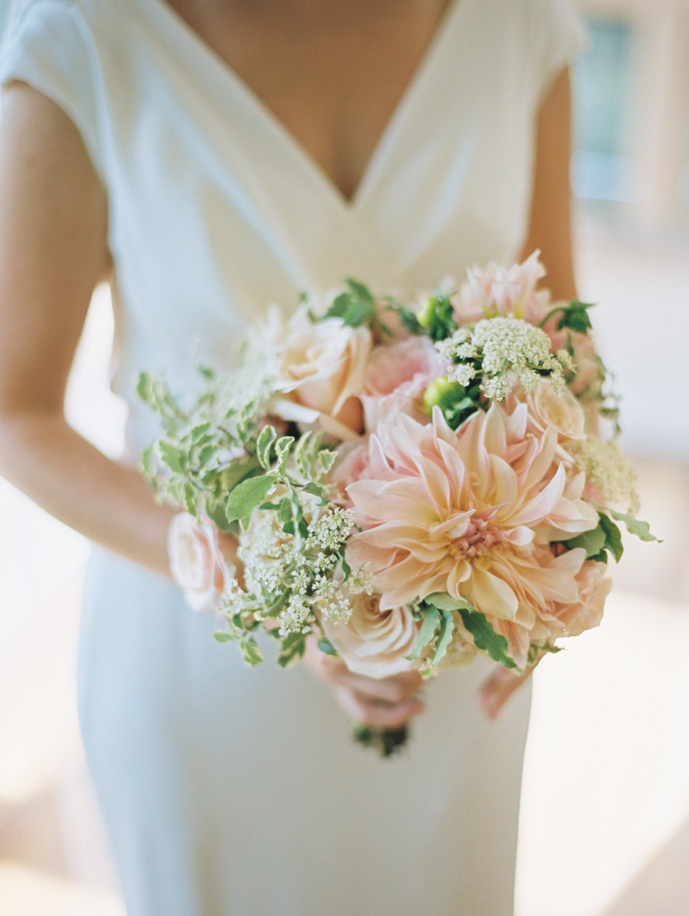 bridal bouquet pink dahlias