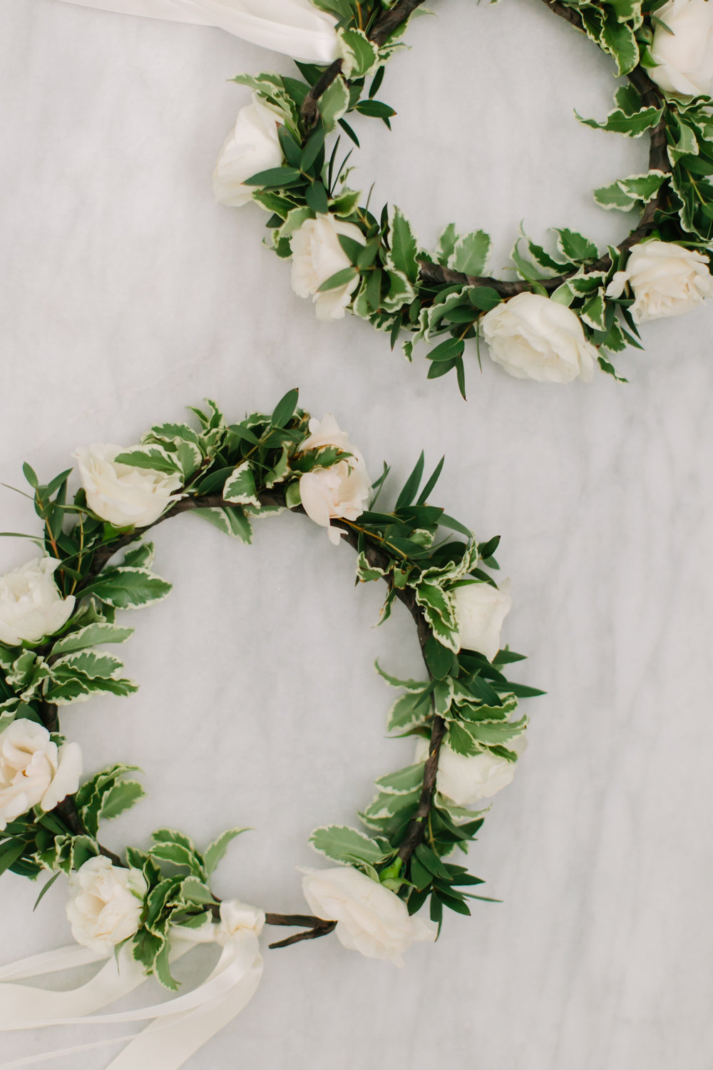 Flower girl crowns with white roses