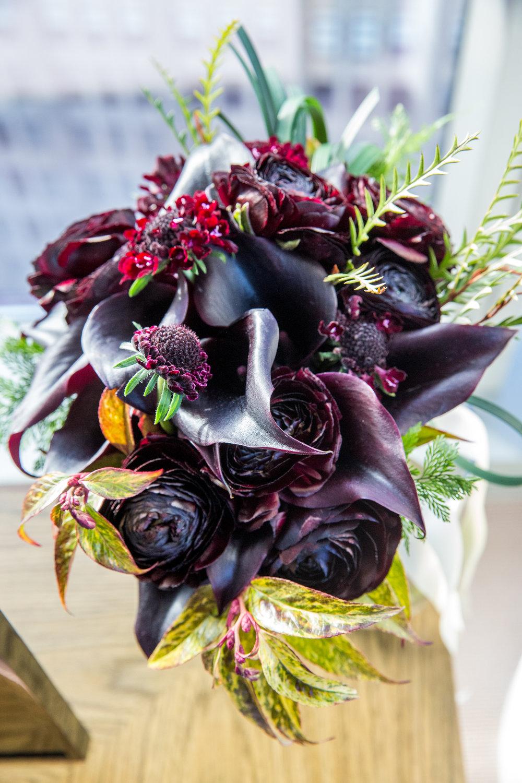 Black calla lily bouquet