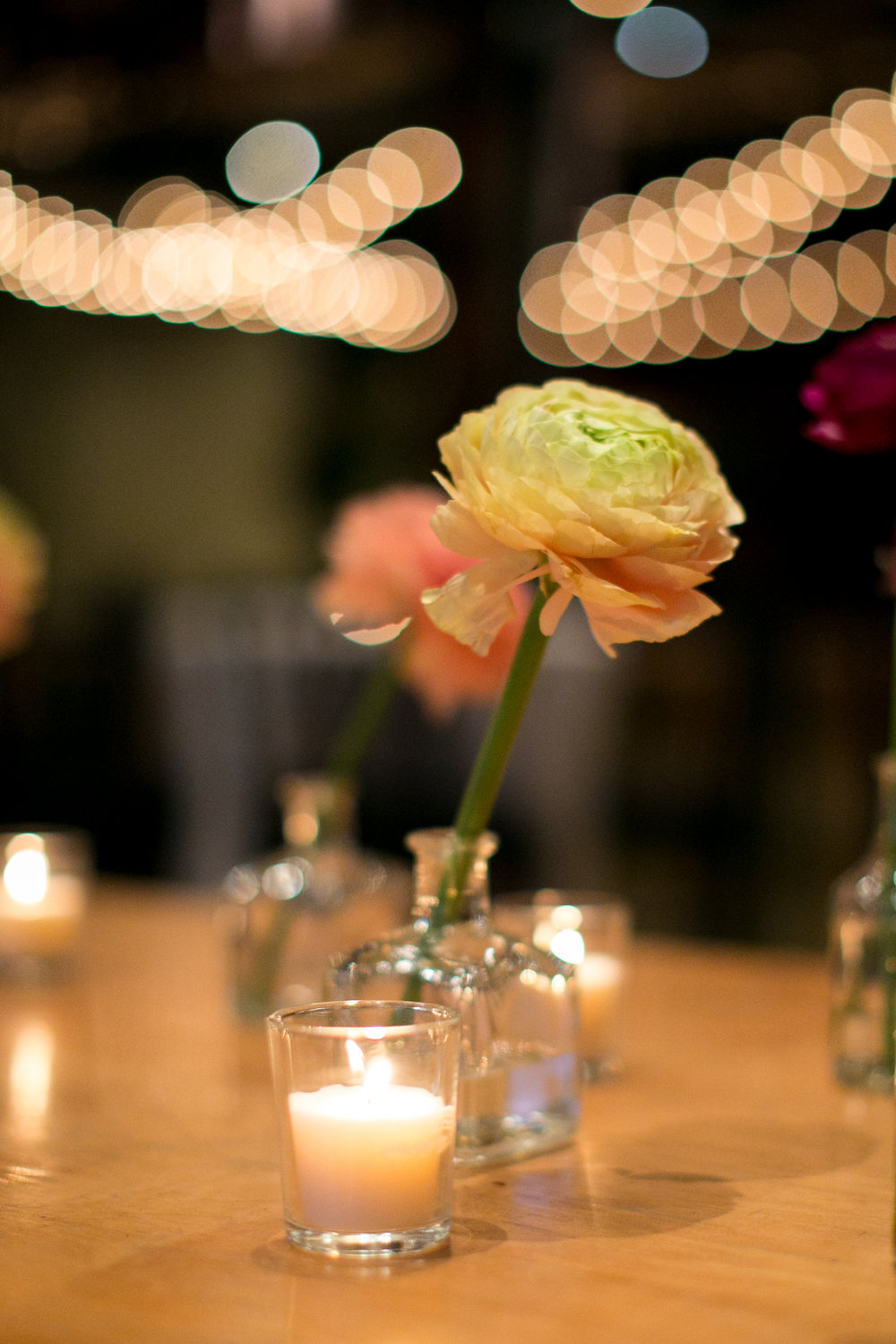 Ranunculus and candlelight