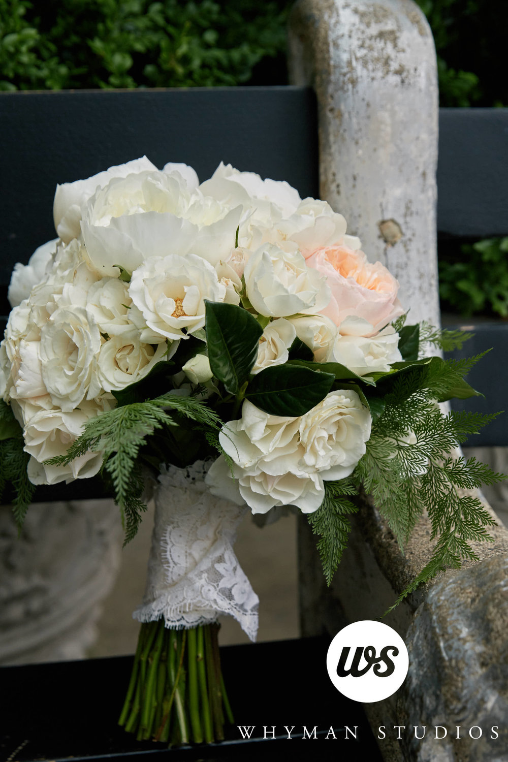 Bridal bouquet of cream and peach roses