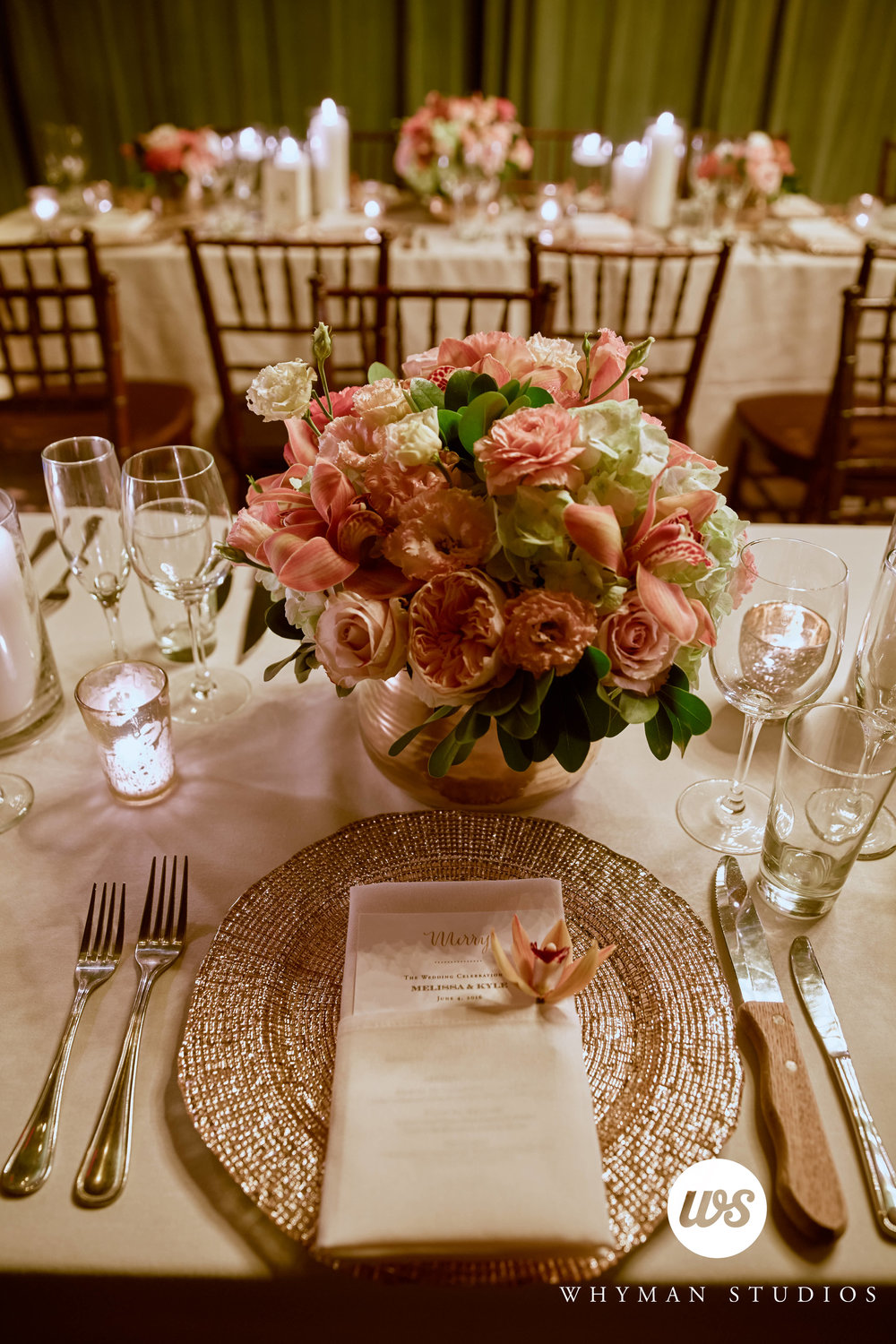 Peach and gold wedding centerpiece