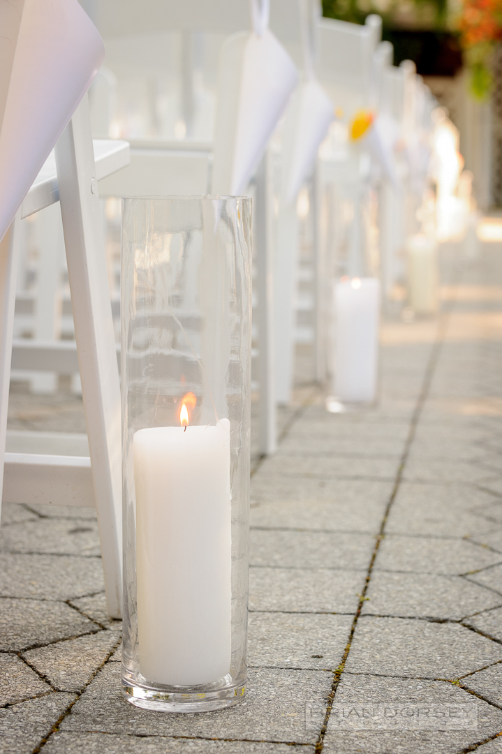 Pillar candles on aisle