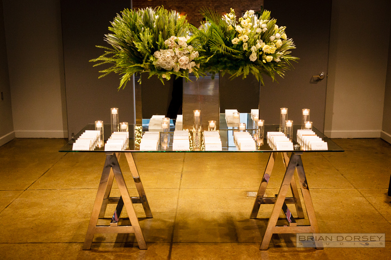 Escort card display on glass table