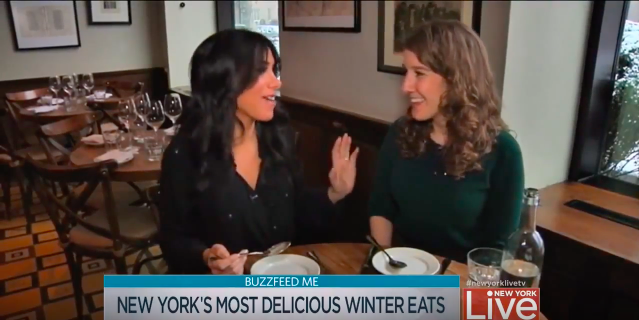 NBC's New York Live - Tasting foods on air featured in a post on the most delicious wintertime foods in NYC. Feb 2014.