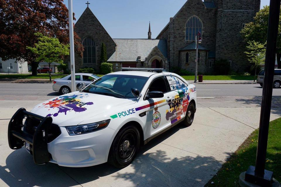 LGBTQ+ wrapped cruiser at the Oshawa Flag Raising, Pride Week 2017