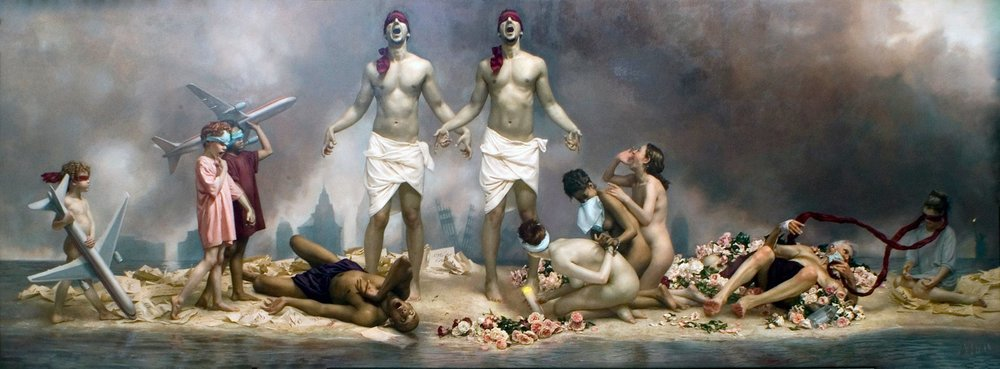 The Cycle of Terror and Tragedy: September 11, 2001  Graydon Parrish Oil on canvas, 18 ft x 7.5 ft, New Britain Museum of American Art