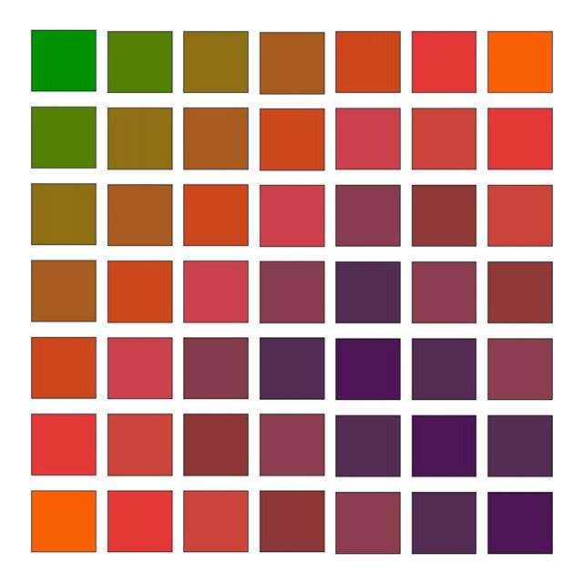 •	munsell20182018 Color Symposium June 10 - 15, 2018 | Artwork Submission from Zena O'Connor| @zena_oconnor | https://zenaoconnor.com.au/ | Tertiary colour grid | This image illustrates a range of tertiary hues derived from the secondary colours of green, orange and purple. I use this image to illustrate some of the hue variations arising from the intermixing of secondary colours. | There's still time to attend the event! Link in profile. | #munsell2018 #colorliteracy #munsell #colorsystem #colorexpert #colorhunters #colorcrush #colorlove #colorblog #livecolorfully #dailydoseofcolor #ihavethisthingwithcolor #hues #interiordesign #interiordesigner #homestager #homestaging #artstudent #colorconsultant #interiordecorator #interiordecorating #ihavethisthingwithcolor #architect #architecturaldesign #colorpsychology #artist #architect#colorscience #fineart #photography