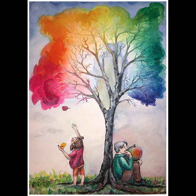 Munsell Color Symposium June 10 - 15, 2018 | Artwork Submission from Maria Hemmerling | @mashahemmerling | www.paperpaintandpalette.com | Watercolor and Acrylic Paint | The Color Tree | I thought of the thoughts that Albert Munsell had after developing his color theory and the color globe. I imagined that he was dreaming of how new generation will be using his invention. The Color Tree represents the seed that Albert Munsell sow, that grew into a tree that provides support to aspiring artists as well as professionals in different industries.  #munsell2018 #colorliteracy #munsell #colorsystem #colorexpert #colorhunters #colorcrush #colorlove #colorblog #livecolorfully #dailydoseofcolor #ihavethisthingwithcolor #hues #interiordesign #interiordesigner #homestager #homestaging #artstudent #colorconsultant #interiordecorator #interiordecorating #ihavethisthingwithcolor #architect #architecturaldesign #colorpsychology #artist #architect#colorscience #fineart #photography
