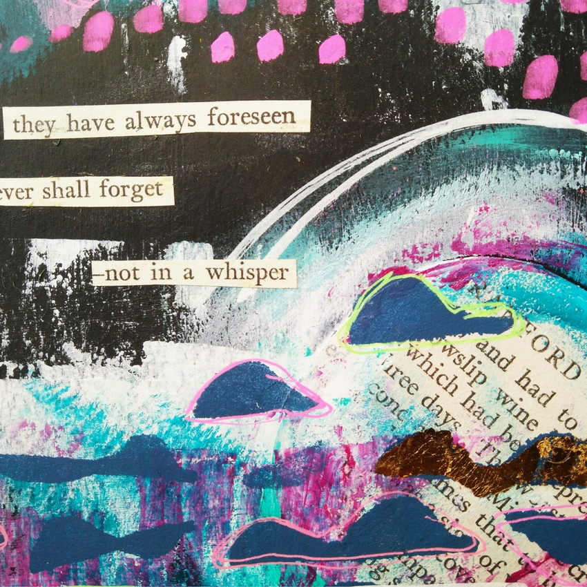 """Not in a Whisper"" an abstract ""moon"" art journal page from @kareng using mixed media techniques including layering and gold leaf with gilding paste. Finishing off with a found poem of course because I just can't stop making them! #mixedmedia #artjournal"
