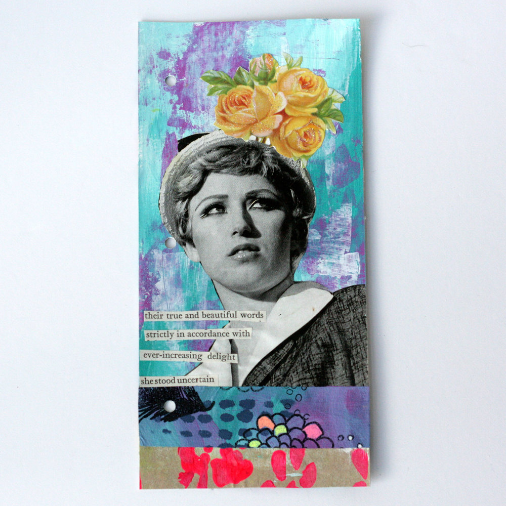 """100 Days of Found Poems - Using found words from the novel """"Cranford"""" I'm creating 100 mixed media art works using found ephemera and scraps I have in my stash. I've created an Art Journal Walk through of all the pieces in this unique mixed media project. Follow along with @kgaunt #mixedmedia #artjournal #found poem #foundpoetry"""