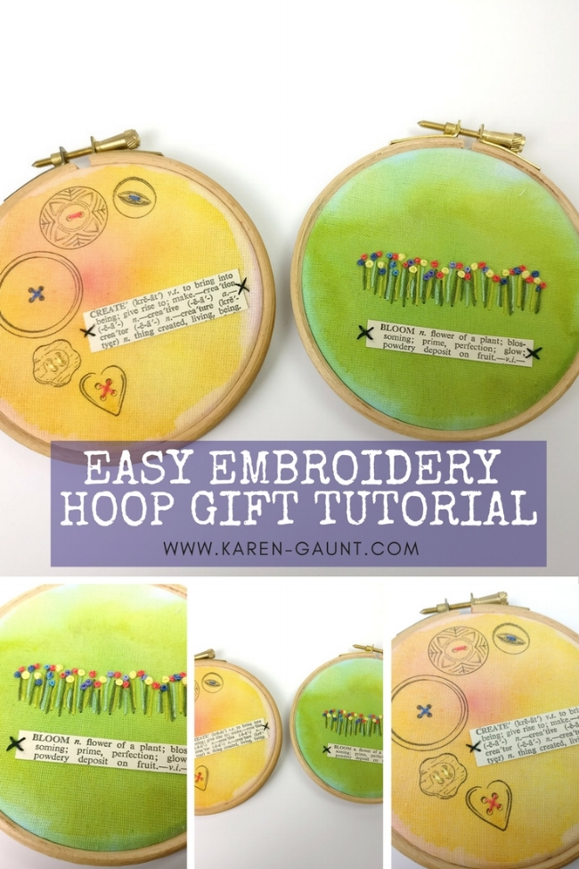 Easy Embroidery Hoop Gift Tutorial with Brushos  I'm sharing some simple and easy gift tutorials that you can make and give away as gifts to your friends and family. I know that sometimes embroidery can seem more daunting than it deserves. I'm sharing this simple and easy gift that you can whip up just in time for the Christmas rush.