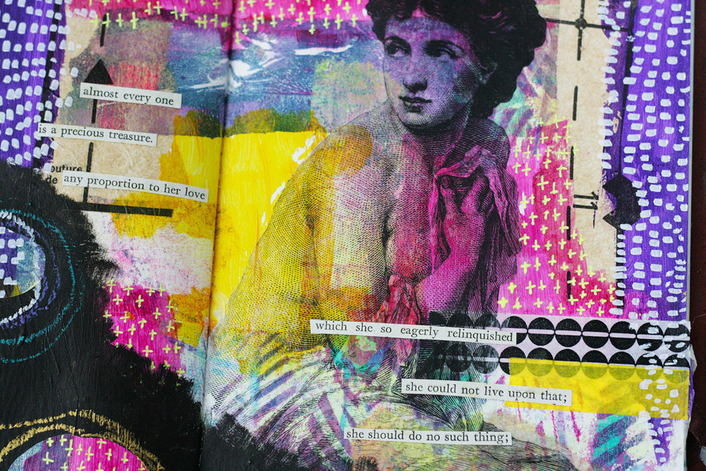 E=M C Layered is a mixed media class teaching you the step by step method I have developed for creating beautiful spreads in your Art journal that are full of depth, interest and drama but are without the bulk. No more strain on your poor journal spine and no more pages falling out anymore!