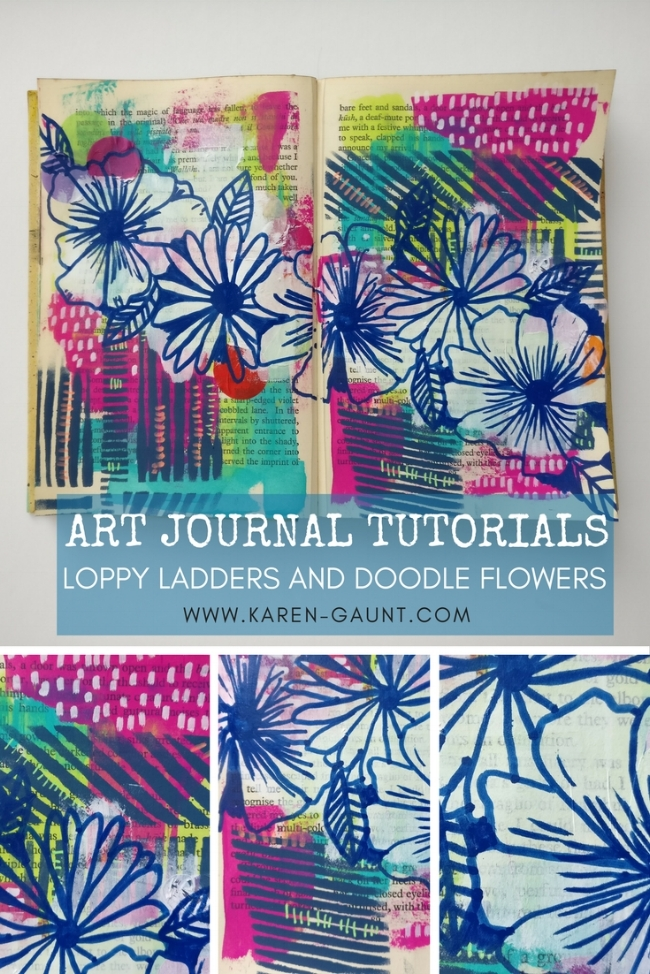 If you often sit down to work in your Art Journal but have no idea where to start you're not going to want to mixxed my tutorial on my blog! Working in my altered book mixed media journal I'm creating doodled flowers and loopy ladders with stencilgirl and Kiala Givehand