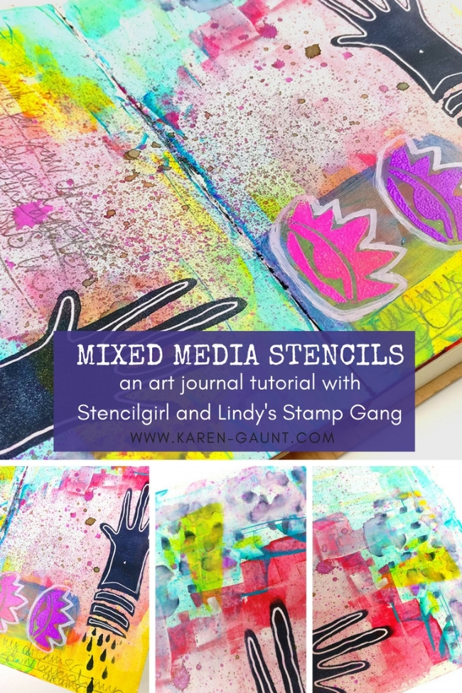 Mixed Media Stencils  Join me for an art journal tutorial using Stencilgirl Stencils and products from Lindy's Stamp Gang! *** There is a blog hop going on from 18.04.18 until 20.04.18 with Stencilgirl and Lindy's Stamp gang so be sure to visit my blog and leave a comment to be in with a chance of winning the giveaway!*** Full blog post here: http://www.kare-gaunt.com/blog/mixed-media-stencils I'm creating a journal page using Roxanne Coble's stencils but using some really bold and bright colours instead. I had a lot of fun getting into some old skool embossing and doddling in lot's of details.