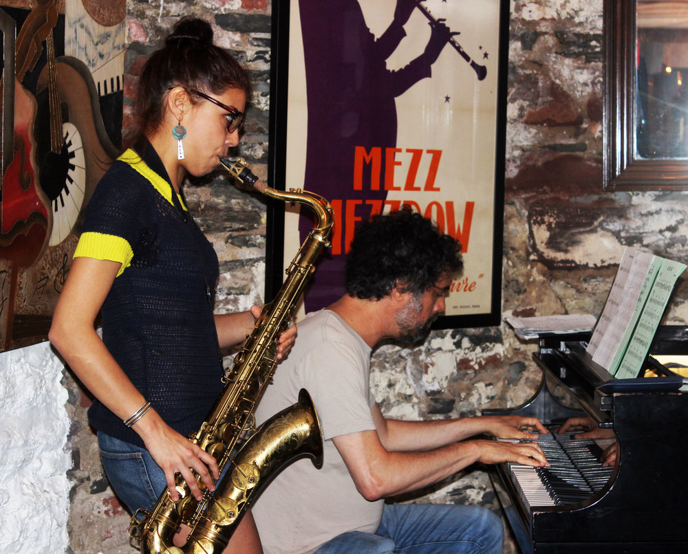 Melissa Aldana and Spike Wilner rehearsing at Mezzrow Jazz Club.  Photo Credit: Vanity Gee