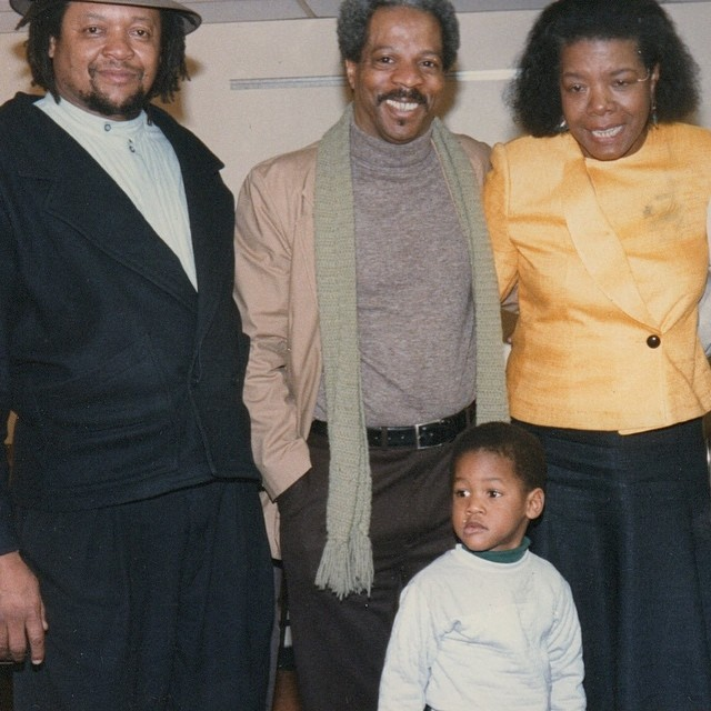 Photo courtesy of Troupe. Pictured: Troupe with poet Maya Angelou and youngest son Porter.