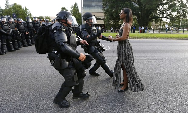 Pictured: Ieshia Evans. Photograph: Jonathan Bachman/Reuters