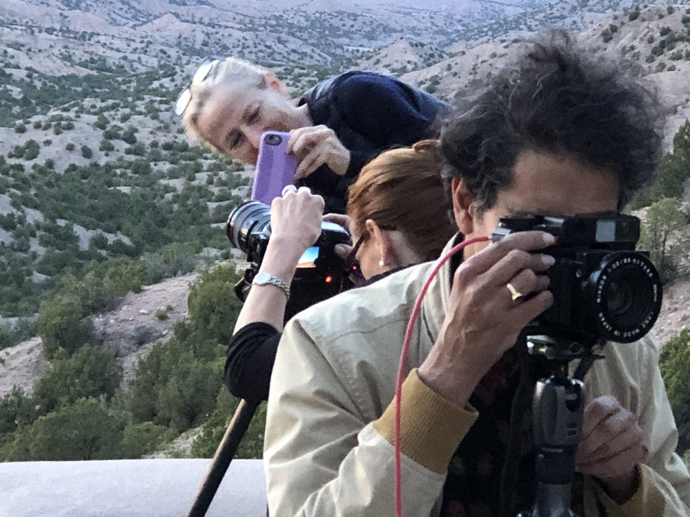 This is what happens when photographers get together to watch the sunset. L to r, Laurie Lambrecht, Janet Huston, Vikesh Kapoor, and outside the frame, Katarin Parizek and José Lopez