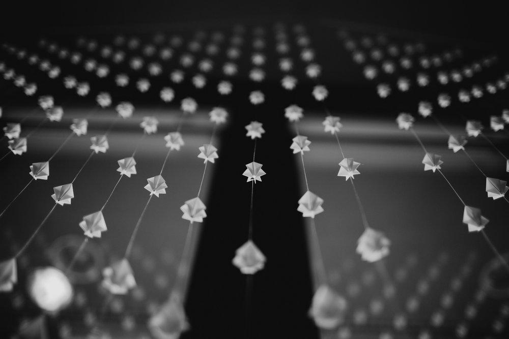 "Diamond Origami Curtain, 72""W"