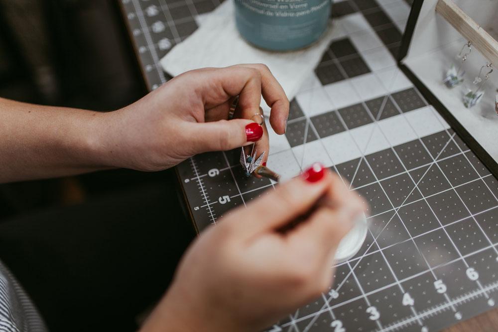 Hand Coating Origami Crane Earrings