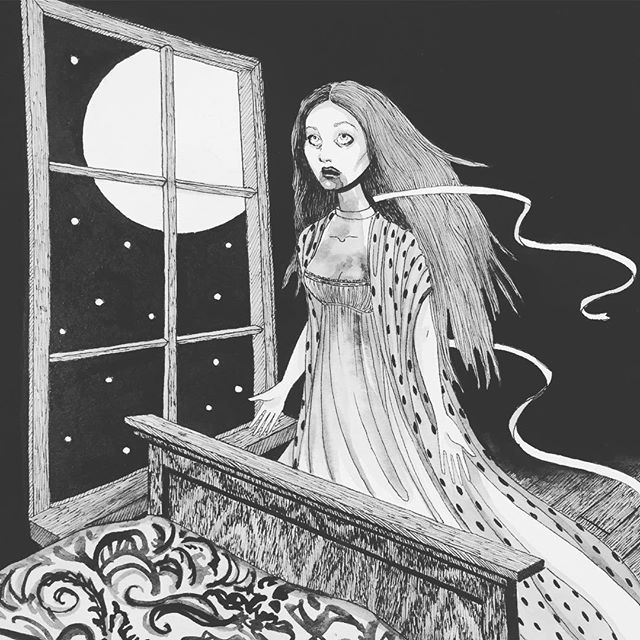 Our illustrated edition of Carmilla by Sheridan Le Fanu is in the works. What classic of gothic horror is YOUR favorite? . . . . #horror #vampire #books #literature #publishing #art #illustration #gothic #scary #goth #haunted #blackandwhite
