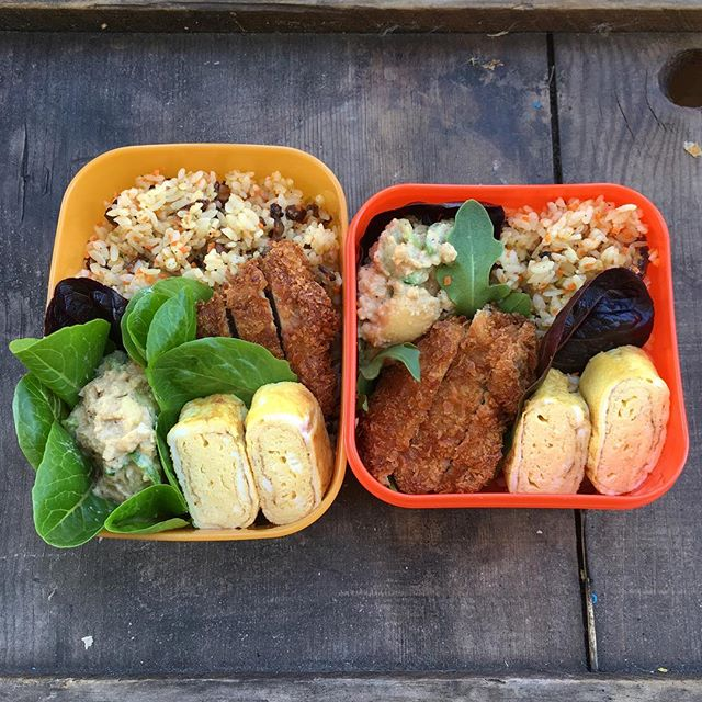 It's such a beautiful day! So, I'm gonna have a #lunch outside! #leftovers make great quick #bentobox items. :) #おうちごはん #お弁当