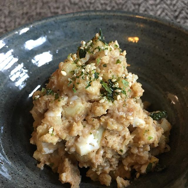 Not the prettiest thing but it's pretty yummy. #makanai #potatosalad made with  soft boiled eggs, scallions, potatoes, and black garlic mayo.