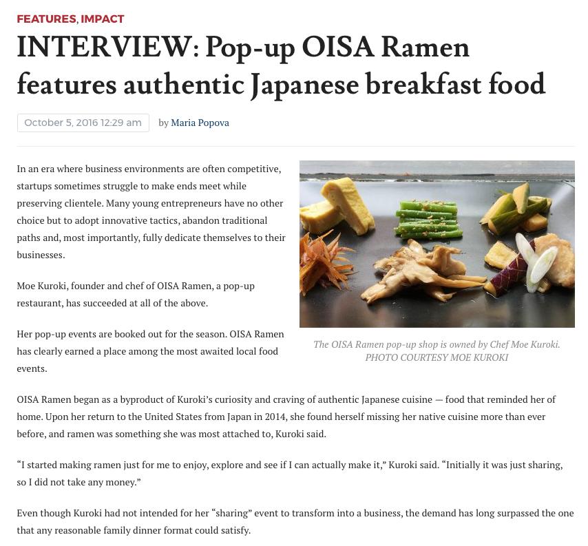 Interview: Pop-up Oisa Ramen
