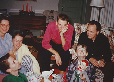 Christmas, maybe 1955. My mom is at the far left and my dad is sitting in the armchair at the right. My brothers are Doug, next to my mom; Dave, with the hipster mustache; and Lee, leaning forward next to my dad. And yes, that's me, making a face for the camera, with my new Jerry Mahoney dummy. At the time, my dream was to become a ventriloquist.