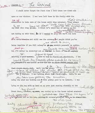 Typed manuscript page of Bunnicula, with handwritten edits.