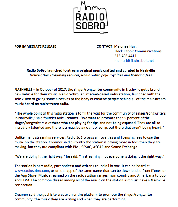 Radio SoBro is a new concept in radio offering a 24-hour live stream of Nashville singer/songwriters. This internet and app-based station provides an outlet for all of the wonderful music that has yet to be released on mainstream radio.