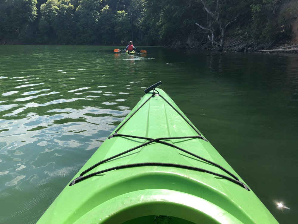 The clear waters of Watauga Lake make for a beautiful kayak excursion that suits any skill level.