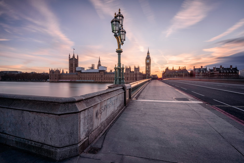 The house of parliament and Big Ben seen from Westminster Bridge at sunset. This is the most famous landmark in London, UK.