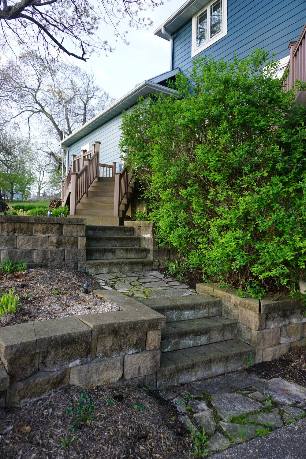 Stairs to deck and garage