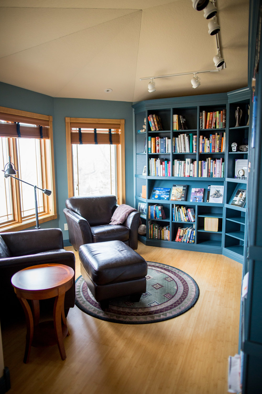 library with custom book shelves