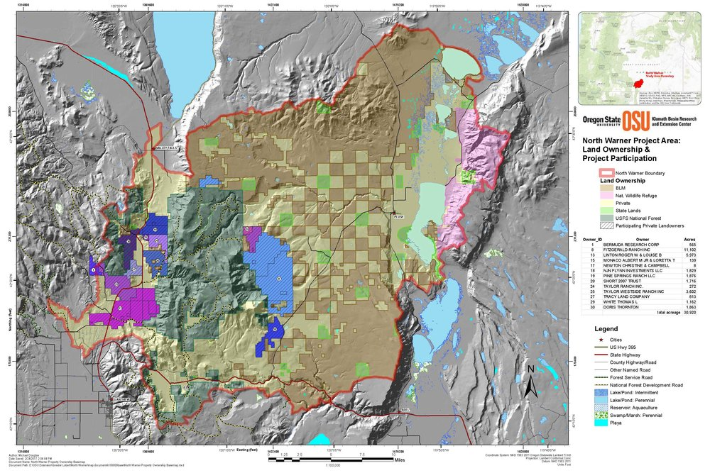 North Warner Property Ownership Map (click to enlarge)  - The Project is located within four watersheds: Crooked Creek, Honey Creek, Deep Creek, and Thomas Creek and contains 51,525 acres of National Forest System (NFS) lands, 32,100 acres of non-industrial private forest land, 17,865 acres of industrial private forest land, 47,220 acres of private land, and 1,290 acres of Bureau of Land Management (BLM) land.